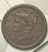 1850 1c Braided Hair Liberty Head Large Cent Early Copper Penny Vf-xf