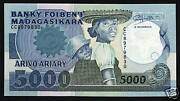 Madagascar 5000 5000 Francs P-73 1988 Book Child School Unc Currency Money Note