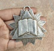 Vintage Old Antique Christian Holy Book Bible Embossed Rare Silver Metal Pendant