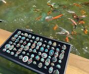 F Wholesale Lot Of 100 Grams Of Turquoise Sterling Silver 925 Rings Resale Bulk