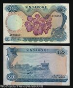 Singapore 50 Dollars P5 C 1972 Without Red Seal Boat Orchid Aunc Rare Bank Note