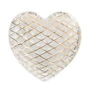 Hermes St. Louis Crystal Paperweight Clear Quilted Heart 24k Gold Detail