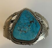 Navajo Bennie Ration 1950s Morenci Turquoise And Sterling Silver Cuff