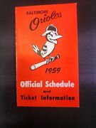 1959 Baltimore Orioles Team Issued Baseball Pocket Schedule Tri-fold