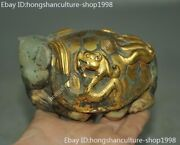 Chinese Ancient Hetian Jade 24k Gold Gilt Carved Human Head Turtle Dragon Statue