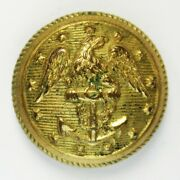 Pre-civil War Navy Coat Button With Uniform Remnant Albert Na107 1840and039s-1850and039s