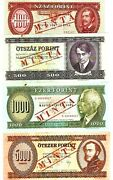 Hungary 50 100 500 1000 5000 Forint 5 Pcs Specimen Set Aunc Europe Bill Banknote