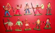 Nice Set Of 10 Vintage Polish Solid Plastic Soldier Cowboys And Indians Kid's Toy