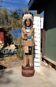 John Gallagher Carved Wooden Cigar Store Indian 5 Ft. White Buffalo Knife Statue