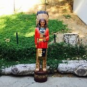 John Gallagher Carved Wooden Cigar Store Indian 4 Ft Red Coat Bear Knife Statue