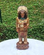 John Gallagher Carved Wooden Cigar Store Indian 4 Ft. Thunderbird Knife Statue