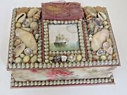 Antique Large Victorian Seashell Sewing Box With Picture Of A Sailing Ship