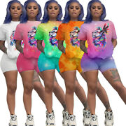 Fashion Women Colorful Print Crew Neck Short Sleeves Casual Clubwear Outfits 2pc