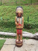 John Gallagher Carved Wooden Cigar Store Indian 5 Ft.tall Statue