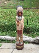 John Gallagher Carved Wooden Cigar Store Indian 5 Ft. Buffalo Knife Statue