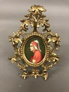 19th Century Miniature Painting Of A Religious Figure In Fancy Frame 8 1/2andrdquo X 6