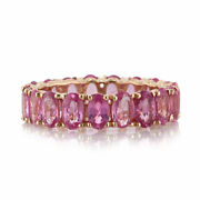 Mark Broumand 5.00ct Oval Cut Pink Sapphire Eternity Band In 14k Rose Gold