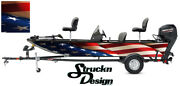 American Flag Fabric Old Usa Graphic Fishing Vinyl Bass Fish Decal Wrap Boat Kit