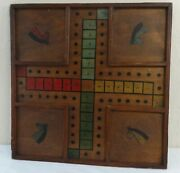 Antique Unusual Game Board Polychrome Paint Horse Heads Ca.1900