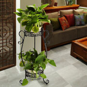 2 Tier Plant Stand Floor-standing Flower Pastoral Style Black Wrought Iron Decor