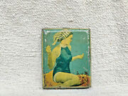 1930s Vintage Rare Lady In Swimming Suit Litho Print Tin Cigarette Case Japan