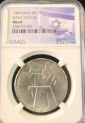 1966 Israel Silver 5 Lirot Israel Lives On Ngc Ms 64 Early Date Bright Bu Coin