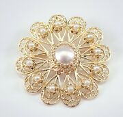 Vintage Antique 14k Yellow Gold Pearl Circle Cluster Brooch Pin Pendant 1970and039s