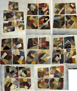 Antique Victorian Embroidery Painted Silk Patchwork Crazy Quilt Squares 9x10