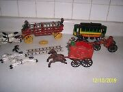 Vintage Lot Of Cast Iron Toys, Horse Drawn Fire Engines, Wagon And Trolley Car