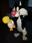 Extremely Rare Looney Tunes Sylvester Holding Tweety Big Figurine Statue