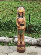 John Gallagher Carved Wooden Cigar Store Indian 6 Ft. Statue White Buffalo