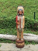 John Gallagher Carved Wooden Cigar Store Indian 6 Ft.tall Very Detailed Statue