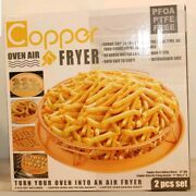 Nib 2 Pc Round Copper Oven Air Fryer Non Stick Cookware French Fries Baking New