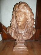 Large 25 In Antique French Plaster Bust Of Moliandegravere By Houdon Circa 1880s