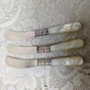 Antique, Meriden Cutlery Co., Sterling Silver-mother Of Pearl 3pc Butter Knives