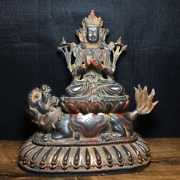 8.8 China Tibet Antique Pure Copper Sitting On An Animal Buddha Statue
