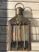 Antique Rare Copper Brass Lantern Grimsby Coal Salt And Tanning Co One Of A Kind