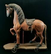 Vintage Large Decorative Wood Horse Repro Pull Toy On Cast Iron Wheels 23.5x23.2