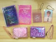 Bts Army Holographic Pvc Leather Keychain Card Holder Transparent Wallet