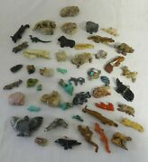Collection Of 47 Miniature Carved Stone Fetishes Animals People Zuni Origin