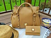 Dooney And Bourke Sand ⛱️ Pebble Grain Small Satchel ⛵ And Flap Wallet