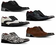 Mens Metal Toe Pointed Shoes Suede Leather Patent Laced Cowboy Italian Dancing