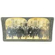Antique Stereoview Card Keystone Leaving Palace Of Versailles Ww1 Collectible
