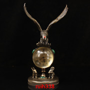 8.4 Asia Antique Qing Dynasty Pure Copper Mosaic Gem Eagles Clocks And Watches