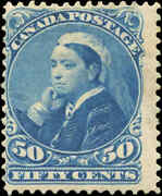 Mint Nh Canada 1893 F+ Scott 47 50c Small Queen Issue Stamp