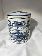 T Delftsche Huys Delft Blue Handpainted Covered Crock Jar Made In Holland