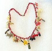Vintage Hand Painted Celluloid Charms Forget Me Not Necklace