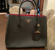 Authenticated- Prada Black And Red Saffiano Cuir Medium Double Tote Leather Bag