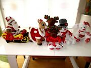 Build A Bear-christmas-santa's Sleigh-reindeer-mr And Mrs Moose-frosty-holiday Lot