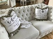 Two French Country Ballard Design Linen And White Burlap Pillows